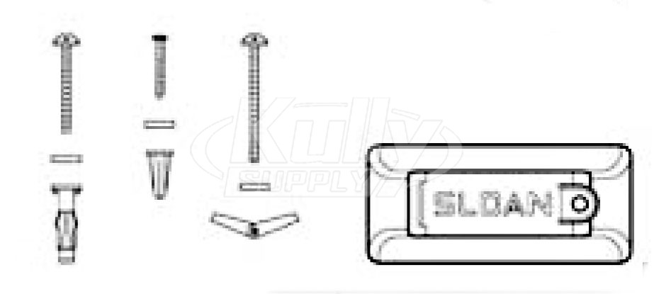 Sloan EBF-25-A Mounting Bracket Kit (with Plates, Brackets, Screws, Washers, & Anchors)