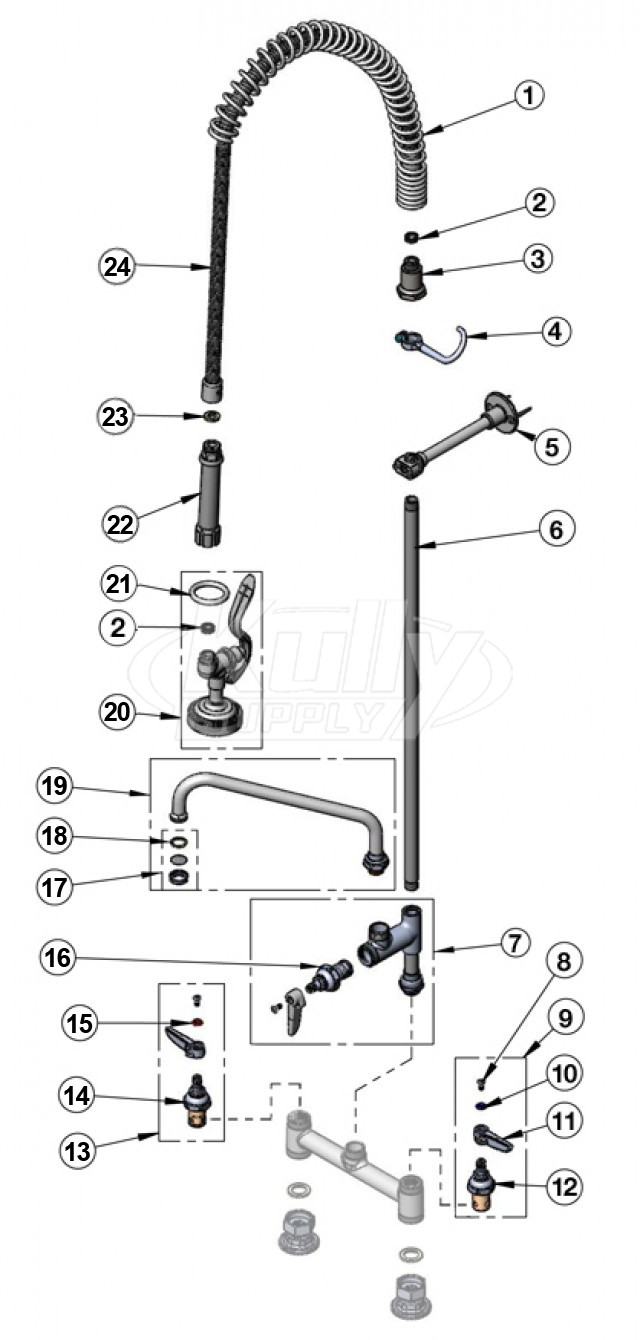 T&S Brass Spring Hose Pre-Rinse Parts w/ Add-on Faucet | KullySupply.com