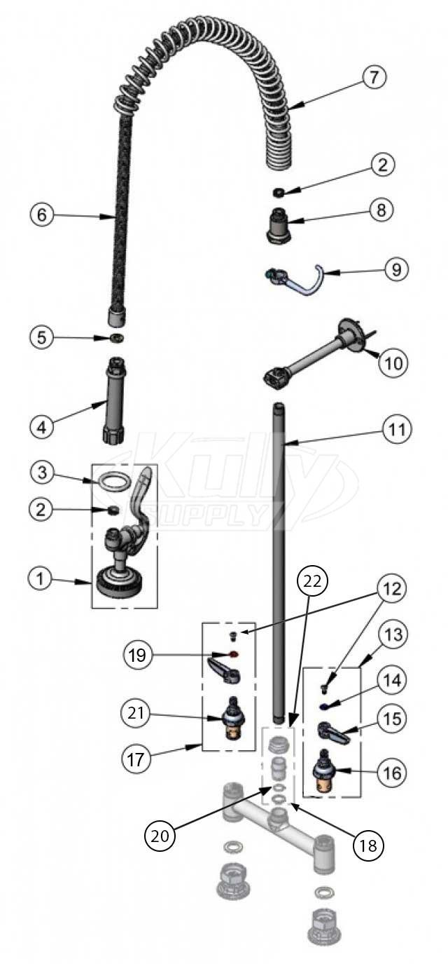 T&S Brass Spring Hose Pre-Rinse Parts | KullySupply.com