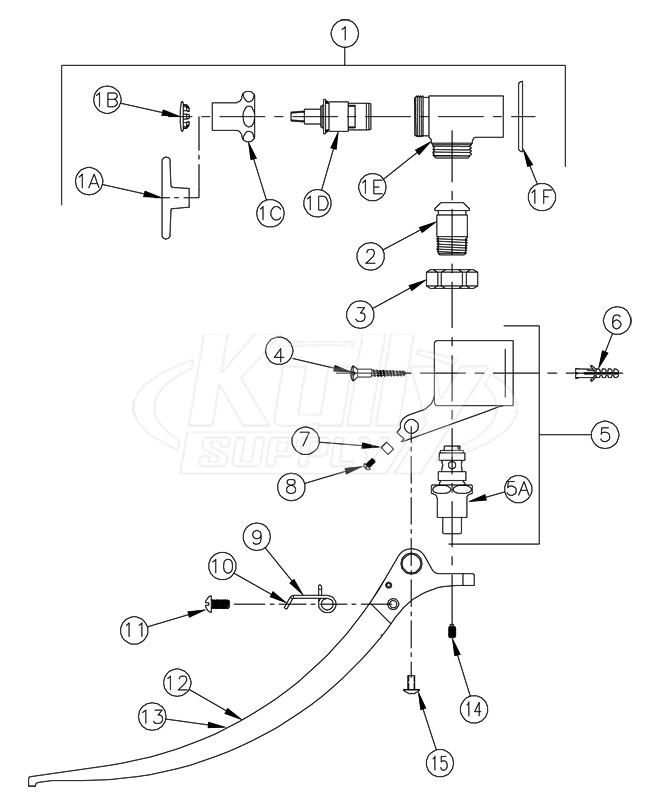 Zurn Z85500 Wm Double Foot Pedal Valve Parts Breakdown