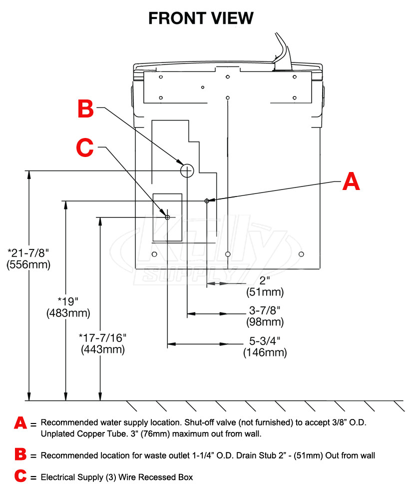 Elkay Ezs8l Drinking Fountain American Standard Urinal Wiring Diagram Rough In Specifications